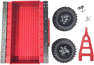 Tbest 1/10 RC Car Trailer, Metal Trail Car Trailer Accessory Fit for Axial SCX10 1/10 RC Car with Two Rubber Tire