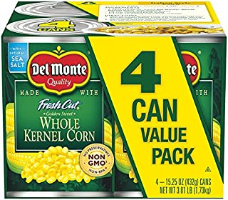 Del Monte Canned Fresh Cut Golden Sweet Whole Kernel Corn, 15.25-Ounce Cans (Pack of 4)
