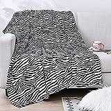 Vessia Oversized Flannel Fleece Velvet Blanket Throw Size(50x70 inch) - Zebra Pattern Lightweight Fuzzy Decor Blanket
