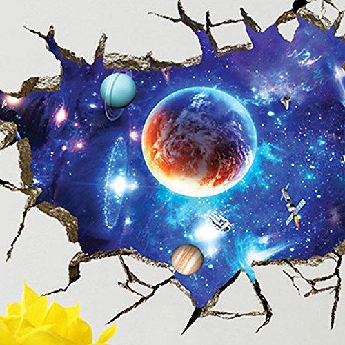 Merssavo Cool 3D Galaxy Terre Espace Lune Planète Stickers muraux Stickers Vinyle Chambre à Coucher