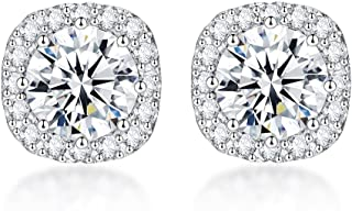 S925 Sterling Silver with 18K White Gold Plated Square Cubic Zirconia Halo Stud Earrings for Women