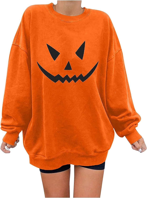 Womens Halloween Pumpkin safety Max 75% OFF Print Tops Women's Long Sweatsh Sleeve