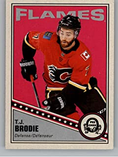 2019-20 O-Pee-Chee Retro Hockey #138 T.J. Brodie Calgary Flames Official NHL Trading Card From Upper Deck OPC