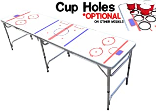 8-Foot Professional Beer Pong Table w/Optional Cup Holes - Hockey Rink Graphic