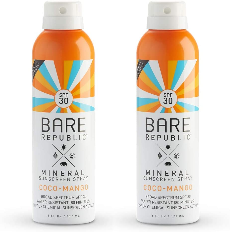 Bare Republic Mineral SPF 200 Sport Sunscreen Spray. Coconut Mango Sheer and  Strong Water Resistant Sunscreen Spray with SPF 200 200 Ounces 20 Pack.