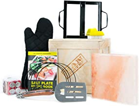 Man Crates Everest Grill Crate – Includes Himalayan Salt Block, Circle Kabobs, 4 Mini Thermometers, Foldable Spatula, Salt Block Recipe Cookbook and More – Great Gifts for Men
