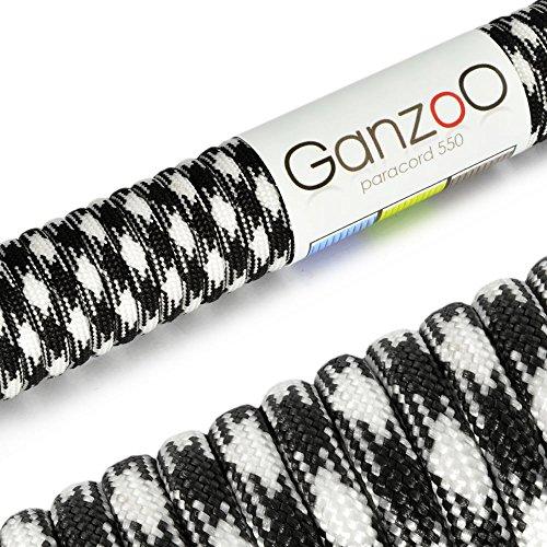 Paracord 550 Seil Schwarz | Weiß | 31 Meter Nylon-Seil mit 7 Kern-Stränge | für Armband | Knüpfen von Hunde-Leine oder Hunde-Halsband zum selber machen | Seil mit 4mm Stärke | Mehrzweck-Seil | Survival-Seil | Parachute Cord belastbar bis 250kg (550lbs) - Marke Ganzoo
