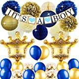 Royal Prince Baby Shower Decorations with Crown Mylar Balloons It's A Boy Banner for Royal Blue Baby Shower 1st Birthday Decorations Supplies