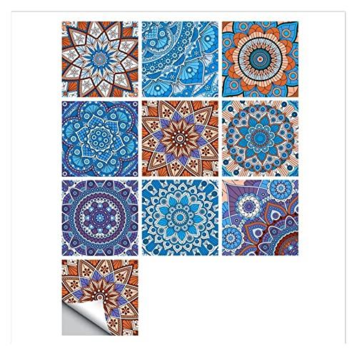 Vinilos para azulejos de pared 10 unids/set Mandala Style Crystal Hard Hard Tiles Cerámica Etiqueta Etiqueta de Pared Cocina Armario Hogar Decoración Arte Mural Palillo Calcomanías Aislamiento térmi