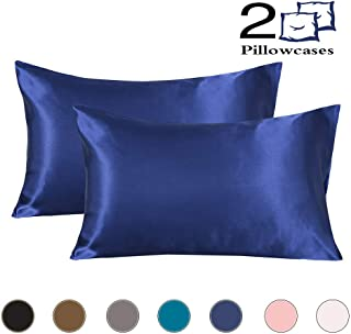 Satin Pillowcase for Hair and Skin Cool Super Soft and Luxury Pillow Cases/Covers with Envelope Closure (Navy Blue, Standard)