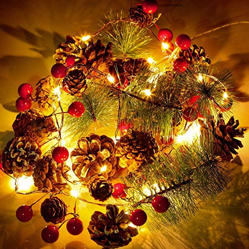 30 LED Christmas Garland Lights String, 10ft Pinecone Red Berry Garland...