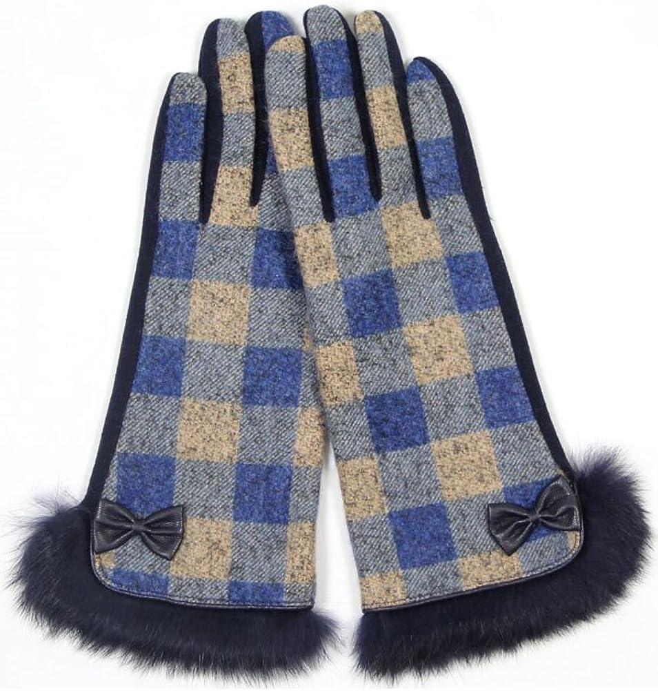 ScarvesMe Block Plaid Checker Smart Gloves with Fur Trim