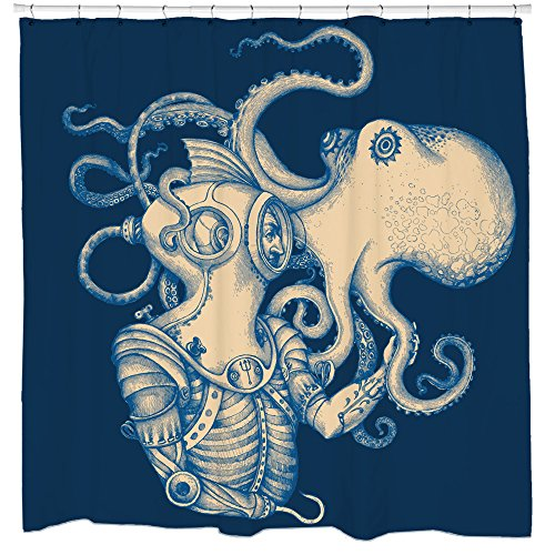 Sharp Shirter Octopus Shower Curtain Set Nautical Bathroom...