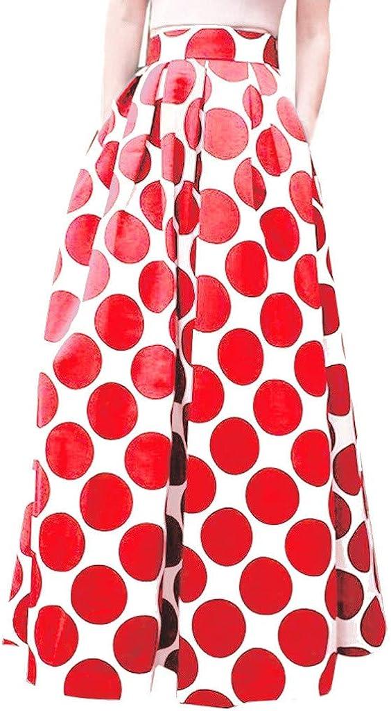 MODOQO Women's High Waist Skirt Casual Summer Long Dot Print A-Line Dress Skirt