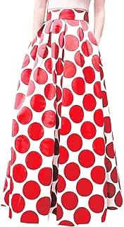 Cardigo Party Cocktail Summer Womens Dot Printed Skirt High Waist Long Skirt