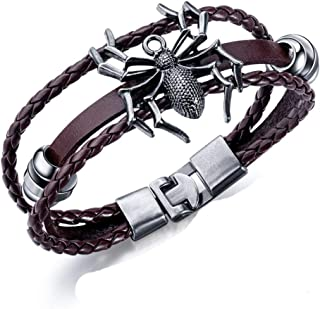Bracelet Hand-Made Multi-Layer Leather Spider Bracelet For Men Boy Vintage Personality Male Bracelets Bangle Wrist Fashion Jewelry Birthday Christmas Present