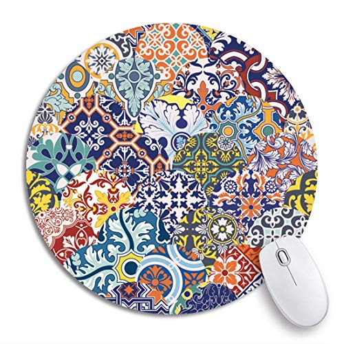 Rundes Mauspad Arabesque Azulejos Fliesen Patchwork Blumenmuster Spanien Teppich Keramik rutschfeste Gummibasis Mausmatte Gaming Mousepad für Computer