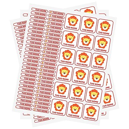 PV Grafik 120 Etichette Adesive personalizzate scuola e asilo per matite, penne, borracce, quaderni personalizzati. 2 Misure di etichette adesive scuola personalizzate, in pvc resistenti.