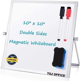 "Small Dry Erase White board – Desktop Portable mini WhiteBoard easel 10""x 10"", 360 Degree Reversible To Do List Notepad Fo..."