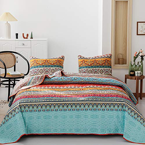 Quilt Sets Queen , Boho Quilt Sets 3 PCS Bedspreads Queen Size Bohemian Floral Pattern Reversible Coverlet Set with Pillow Cases for All Season