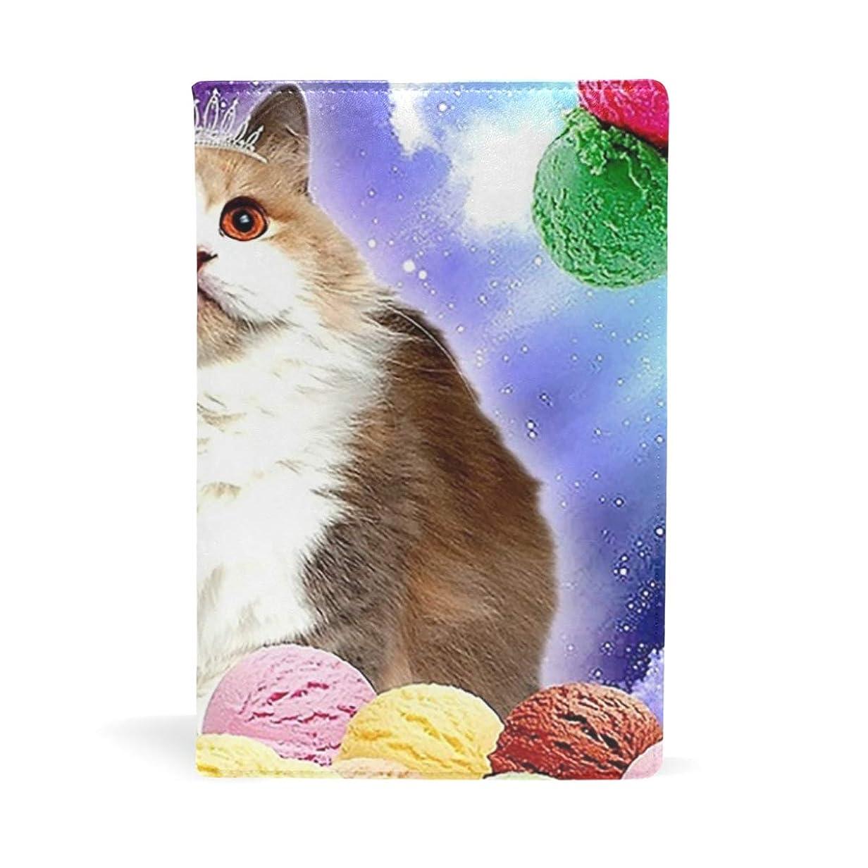コンバーチブルチャーミング不良品猫 アイスクリーム ブックカバー 文庫 a5 皮革 おしゃれ 文庫本カバー 資料 収納入れ オフィス用品 読書 雑貨 プレゼント耐久性に優れ