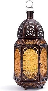 Lantern Candle Holder Tea Light Hurricane Lamp Metal Glass Decorative Storm Lanterns for Patio Indoor Vintage Geometric Hanging Shabby Chic Wedding Decoration