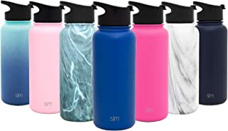 Simple Modern Summit Water Bottle + Extra Lid - Wide Mouth Vacuum Insulated 18/8 Stainless Steel Powder Coated