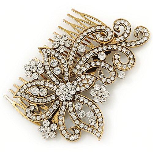 Fermacapelli vintage da sposa a forma di farfalla con cristalli trasparenti e perle. Per cerimonie o altra occasione importante. 100 mm. Colore oro