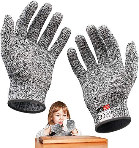 Schnittsichere Handschuhe für Kinder - Leistungsfähiger Level 5 Schutz,Lebensmittelecht - Zum Kochen, Schnitzen und Gärtnern, Geeignet für 5-8 Jährige, XXS
