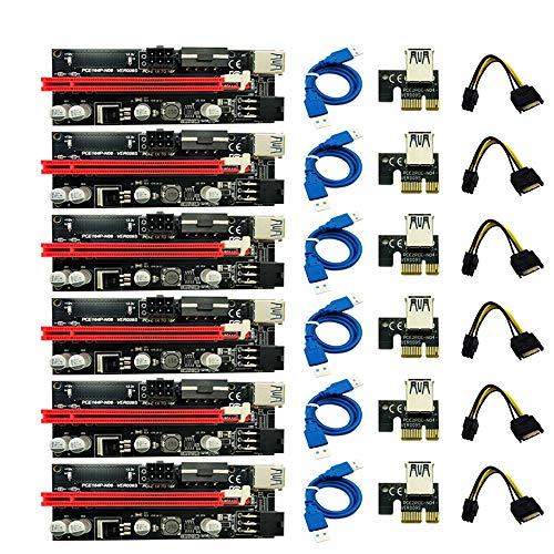 SNOWINSPRING 6Pcs MáS Nuevo Ver009 USB 3.0 Pci-E Riser 009S Express 1X 4X 8X 16X Extender Riser Adaptador Tarjeta Sata 15Pin a 6 Pin Cable de?AlimentacióN