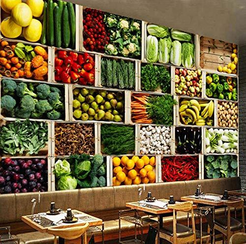 Muurschildering voor woonkamer, slaapkamer, bank, decoratie thuis, papier, grote 3D-luifel voor groenten, fruit en winkel. 350cm*245cm Lm004