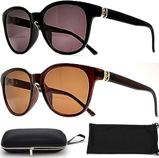 2 Pair Bifocal Sunglasses Reading Glasses for Women Fashion Designer Cateyes