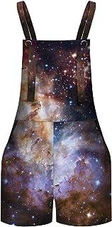 Keaac Womens Distressed Painting Denim Adjustable Strap Overall Dress