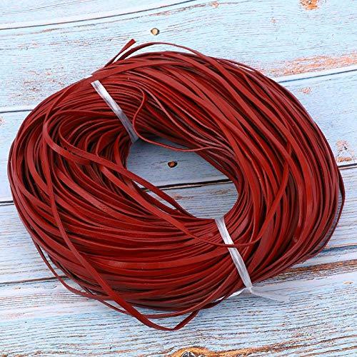 Qqmora Tira de Cuero 100 m de Largo Cordón de Cuentas de Cuero Cordón de Cuero Joyería DIY Artesanía DIY Hecho a Mano(Red Brown 3mm*1mm100m)