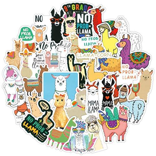 J TOHLO Set di Adesivi in 100 Sticker Adesivi per Bagagli Le valigie Etichette Adesivo alla Moda Decalcomania Vinile Impermeabile per Auto, Laptop, Toppe per Frigorifero(Alpaca)