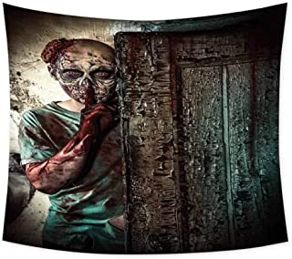 Zombie Decor Grateful Dead Tapestry Monster Behind The Door Looking with Evil Eyes Hell Nightmare Modern Print Wall Decor for Bedroom Tapestry W60 x L40 Inch Umber Teal Tan