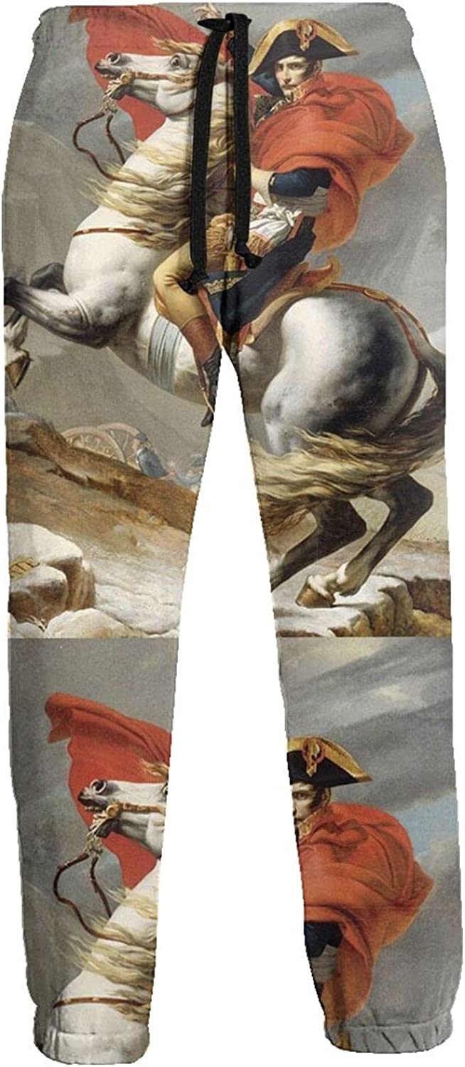 KAWAHATA Napoleon Crossing The Alps Men's Pants with Pockets Tapered Athletic Sweatpants 3D Casual Active Sports Pants