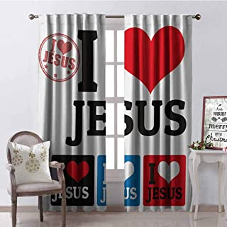 GUUVOR Retro Heat Insulation Curtain I Love Signs in Retro Stamps Letters and Heart Shapes Design Print for Living Room or Bedroom W72 x G96 Inch Blue Red Black