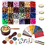 HAUSPROFI 600PCS Sealing Wax Beads, with Tea Candles, Wax Melting Spoon Wax Stamp, Wax Seal Warmer, Vintage Envelopes and Metallic Pen, for Wax Seal, Crafts and Decoration (24 Colors)