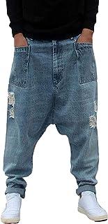 Men`s Vintage Baggy Drop Crotch Harem Jeans for Hipster