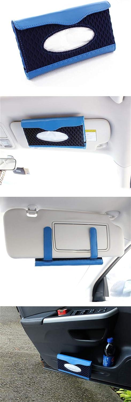 Sonnenblende Tissue Box Papiertaschentuchboxmesh With Leather Car Sun Visor Hanging Paper Towel Clip Unisex Car Tissue Box Blue Auto