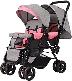Stroller Zzmop Luxury, Contours Curve Tandem Double for Infants, Toddlers or Twins - 360° Turning, Multiple Seating Options