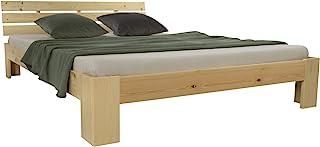 Homestyle4u 1838, Lit Double en Bois futon 160x200 Cadre de lit Naturel