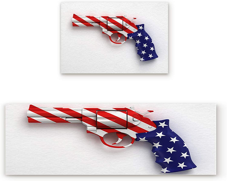 SODIKA Non Slip Kitchen Rug Set 2 Piece, Floor Mat Carpet Runner,American Flag Patterned Gun (23.6x35.4in+23.6x70.9 inches)