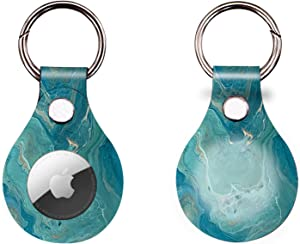 CoKi Anti-Scratch Lightweight Protective Case for Apple Airtag 2021,Marble GPS Portable Cover with Accessory for Airtags Keychain, Soft Flexible Pets Anti-Lost Tag Holderr (1Pcs, Marble Blue)