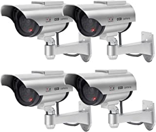 Solar Powered Dummy Security Camera, Bullet Fake Surveillance System with Realistic Red Flashing Lights and Warning Sticke...
