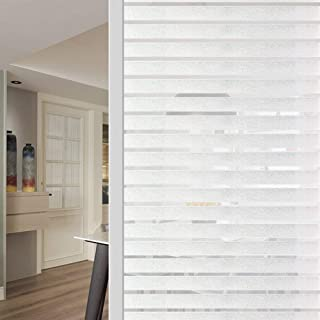 WochiTV Office Privacy Window Film, Stripes Privacy Window Film No Glue, Window Tint with Frosted Static Cling UV Protection, Window Sticker for Home Office Kitchen - 35.4 Inch x 8.2 Feet, Stripe