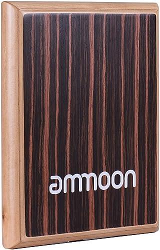 ammoon Cajon Plat Compact de Voyage Tambour à Main Instrument à Percussion avec Cordes Réglables Sac de Transport