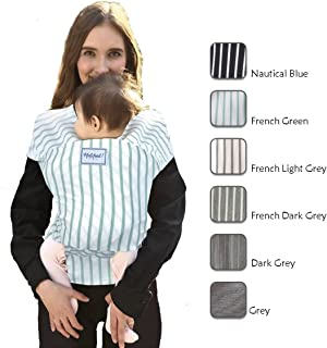 Hatched! Soft Breathable Natural Cotton Baby Sling Wrap Carrier - Soft & Comfortable - Lightweight Carrier Suitable for Infants - Breast Feeding Cover - Stripes (French Green)