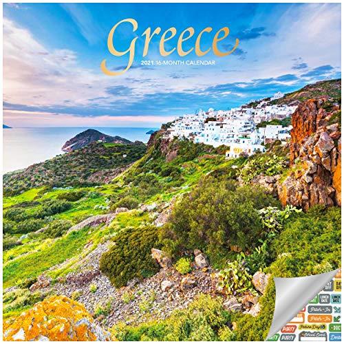 Greece Calendar 2021 Bundle - Deluxe 2021 Hellenic Republic Wall Calendar with Over 100 Calendar Stickers (Hellas Gifts, Office Supplies)